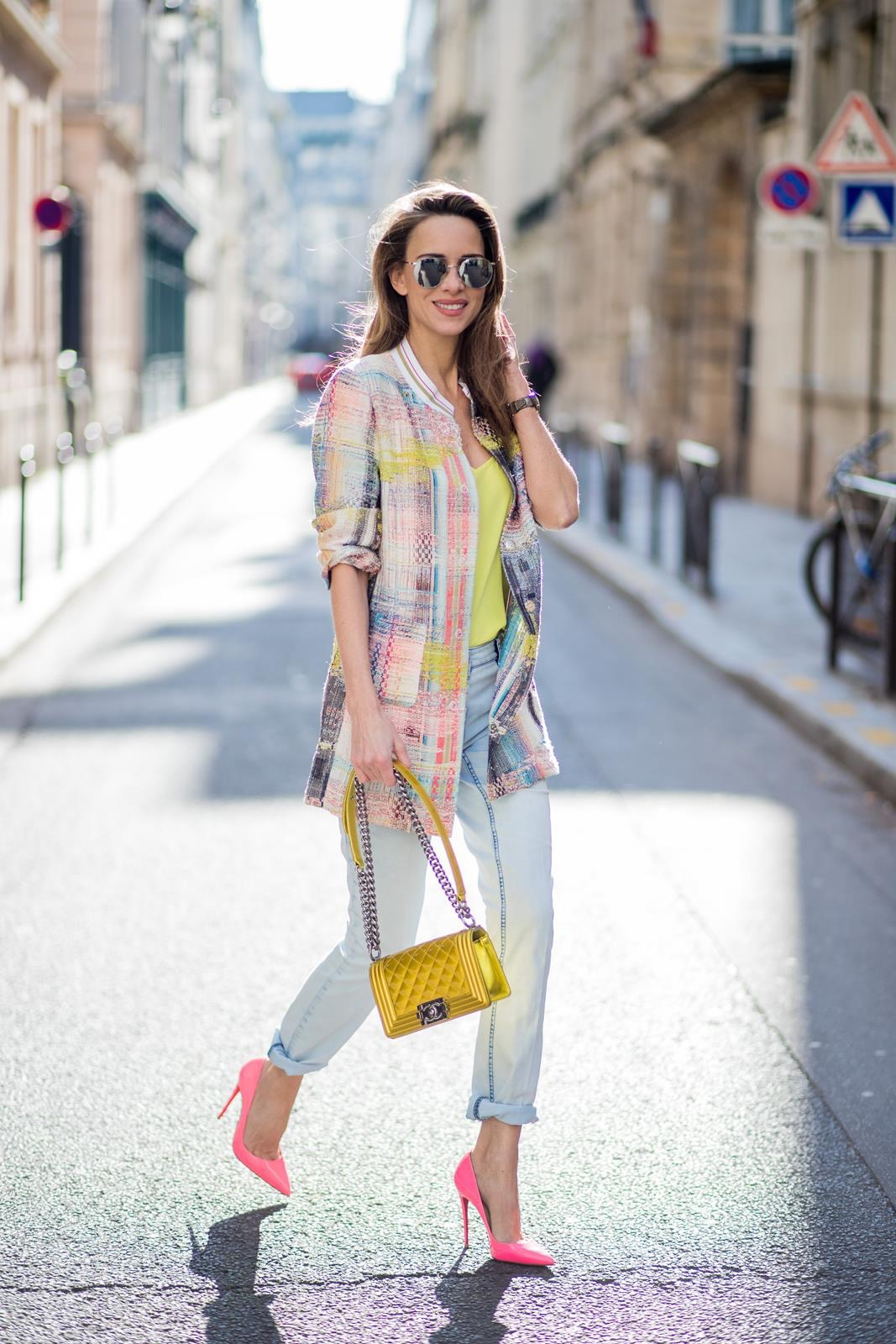 4a43730bf280 FRANCE - MARCH 02: Alexandra Lapp wearing pastel tweed, a long tweed .