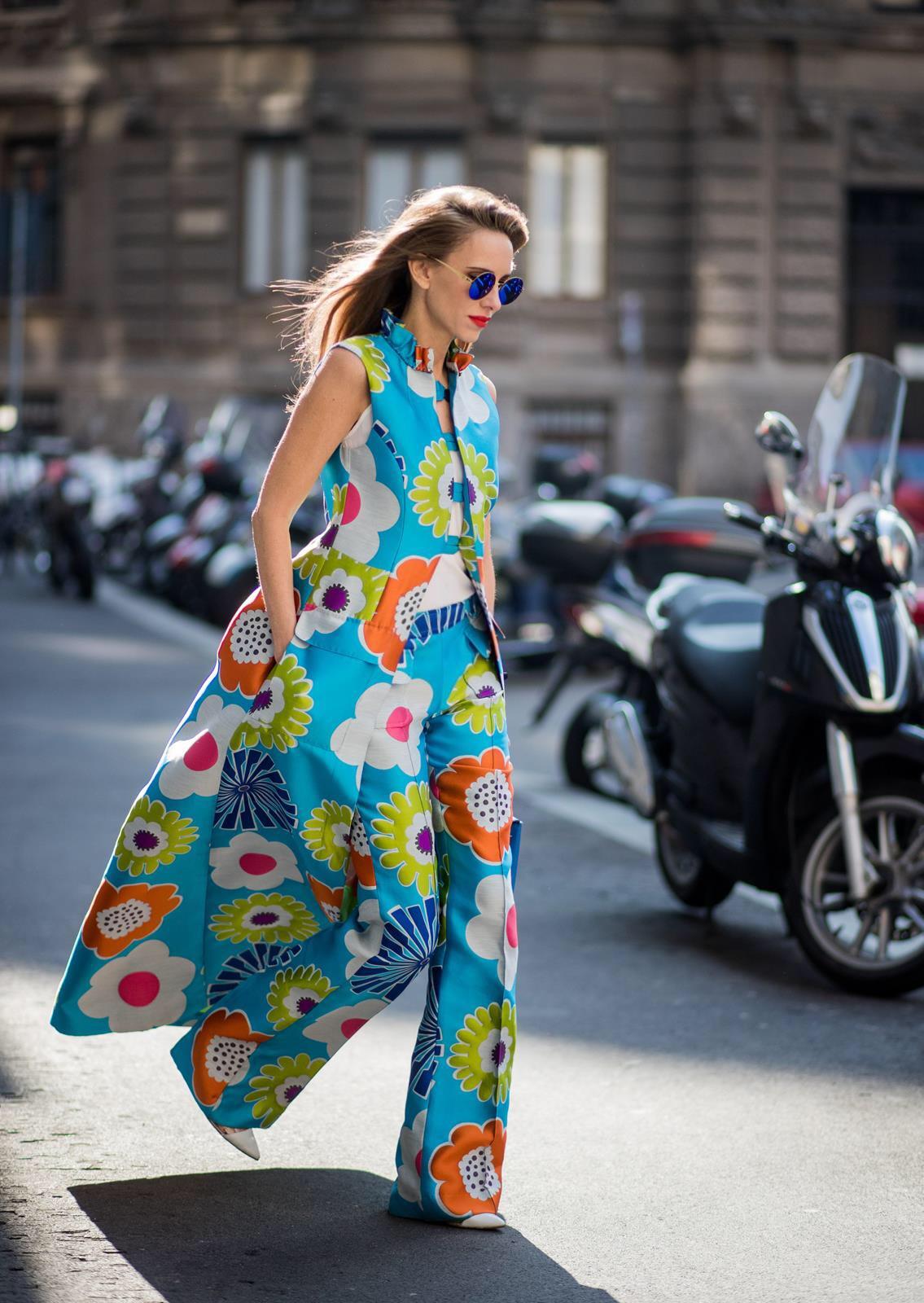 96a9105420 Alexandra Lapp In Seventies Style Wearing Flower Power Silk Jacquard Pants  In Multicolor With A Long. Seventies Style Flower Power Alexandra Lapp