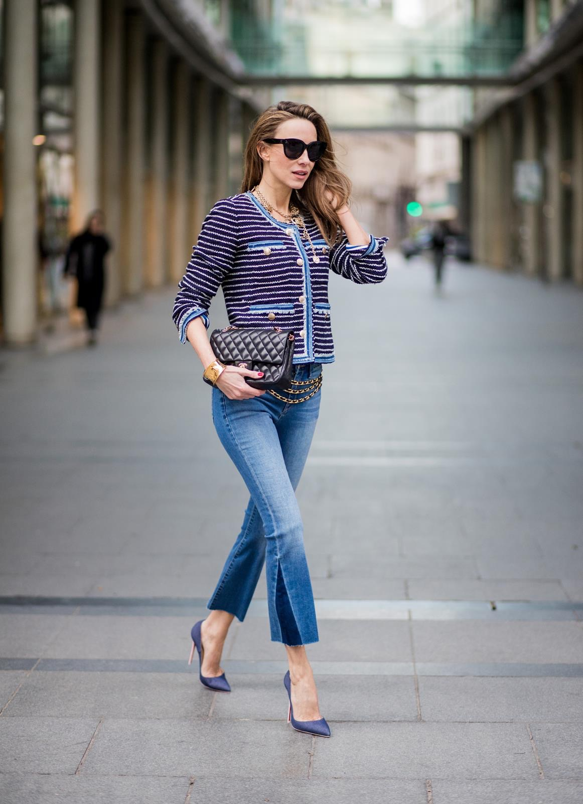 236ddf81ff23 Alexandra Lapp wearing Chanel Vintage  a striped tweed jacket in marine  tones and flared jeans