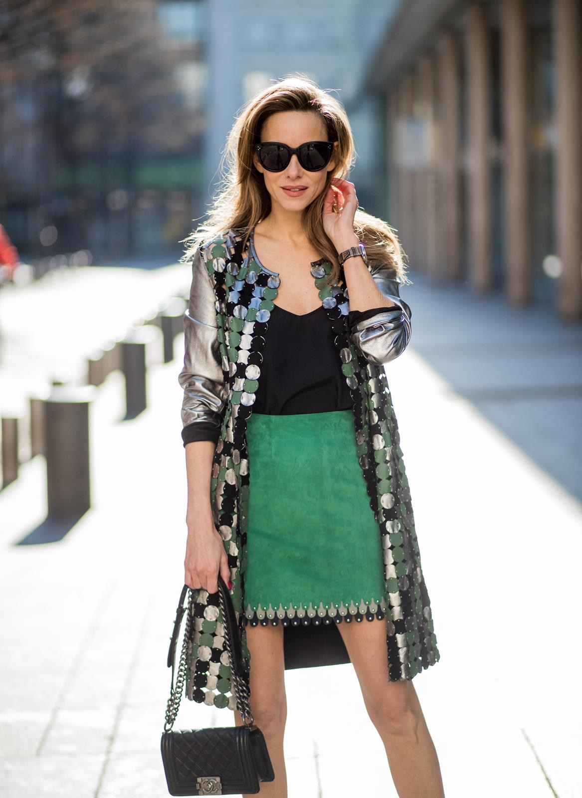 Silver Coat Suede Skirt Blog Alexandra Lapp