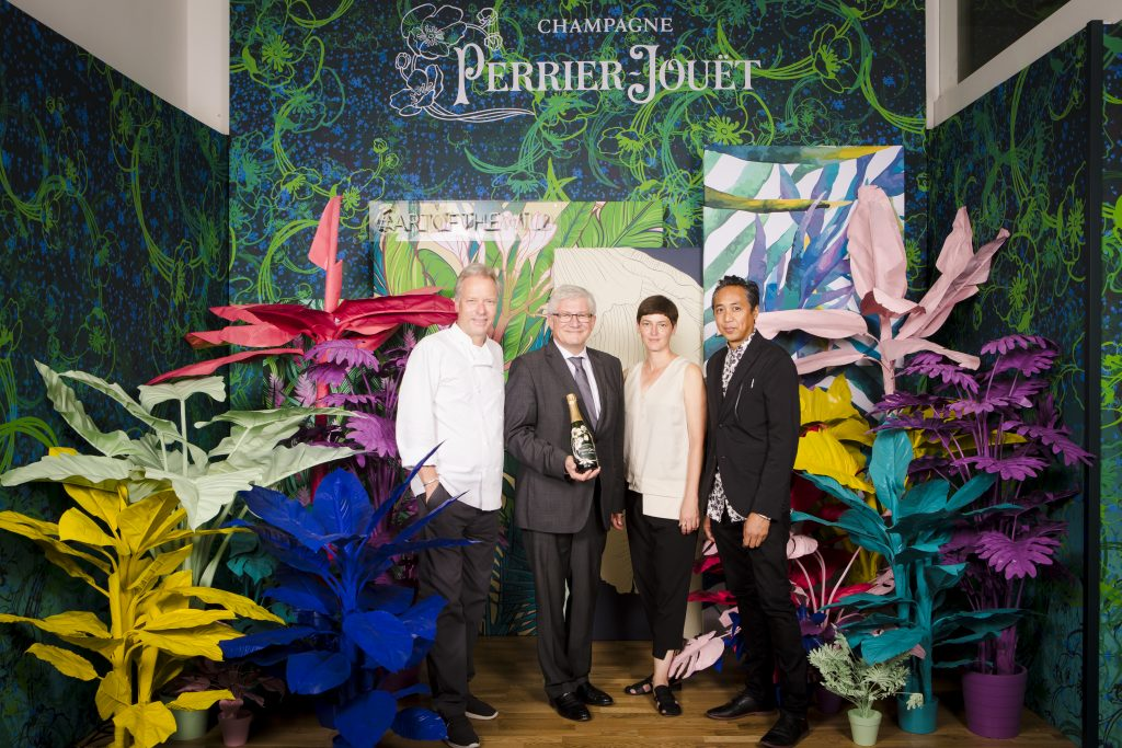 "Bobby Bräuer, Herve Deschamps, Luftwerk with Sonja Herpich and Blogger and Model Alexandra Lapp attending the Perrier-Jouët event in Munich where the famous Champagne house transformed Munich into an urban jungle, all under the motto ""Art of the Wild""."