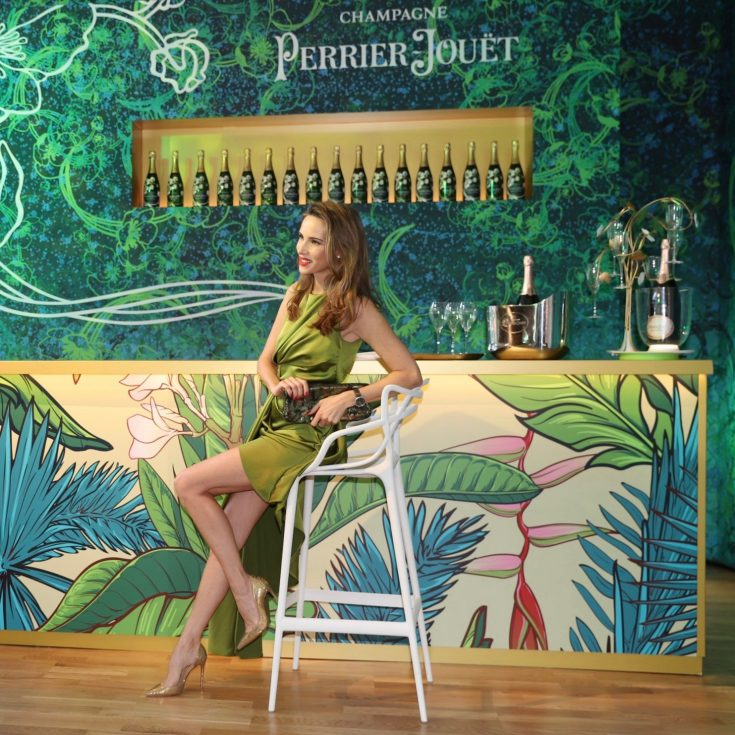"Blogger and Model Alexandra Lapp attending the Perrier-Jouët event in Munich where the famous Champagne house transformed Munich into an urban jungle, all under the motto ""Art of the Wild""."