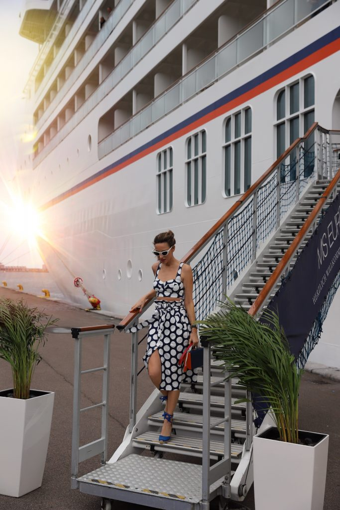 Blogger and Model Alexandra Lapp on board of the MS EUROPA 2 of Hapag-Lloyd Cruises for the FASHION2NIGHT event on August 17, 2018 in Hamburg, Germany.