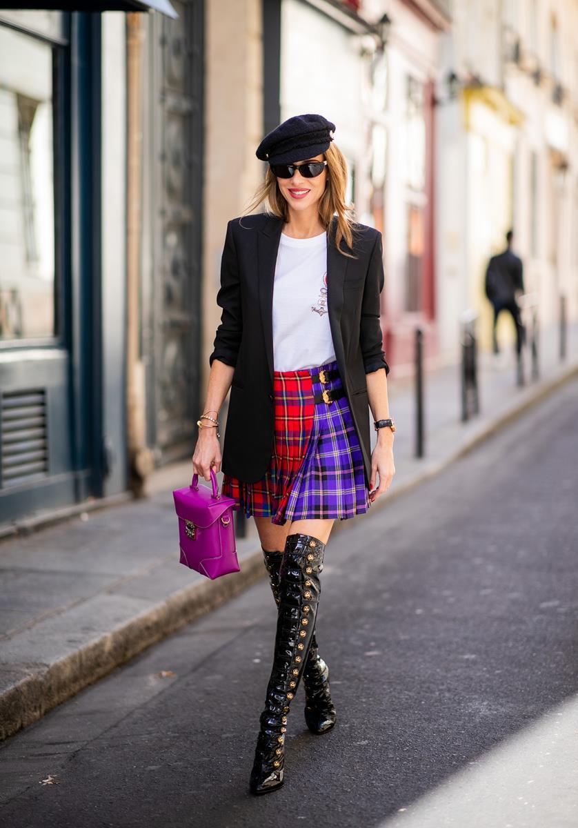 d816d7a3f56 ... Alexandra Lapp in a Kilt Skirt Look wearing a long black boyfriend  oversized blazer by Saint ...