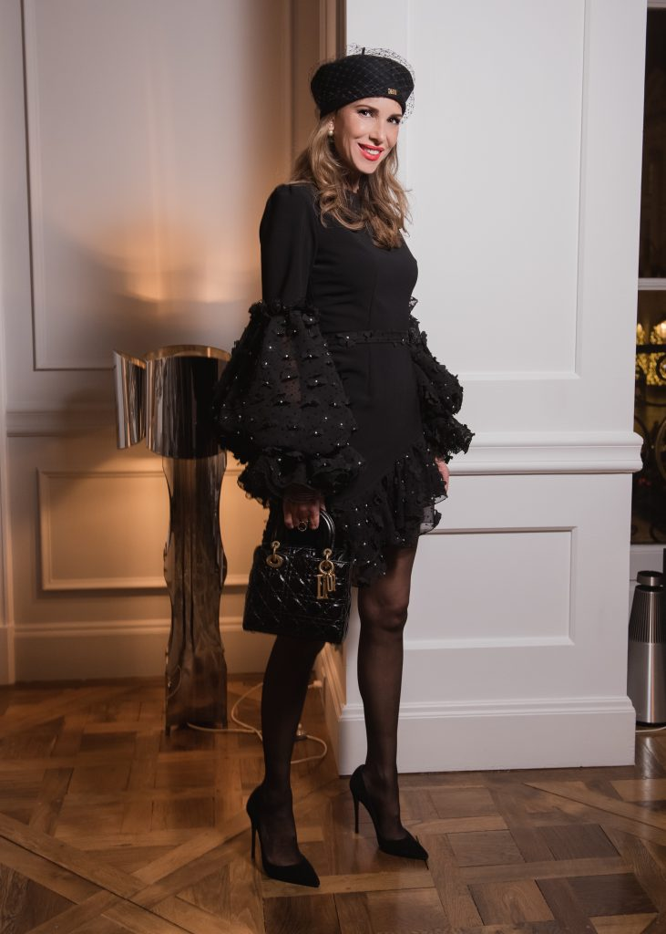 Alexandra Lapp at the Maison Christian Dior Christmas Dinner in Paris on November 28, 2018 in Paris, France.