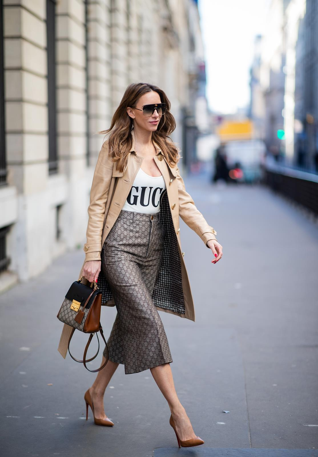 c00eb776 ... Alexandra Lapp in a Gucci culotte pants look, wearing the Culottes with  monogram pattern, ...