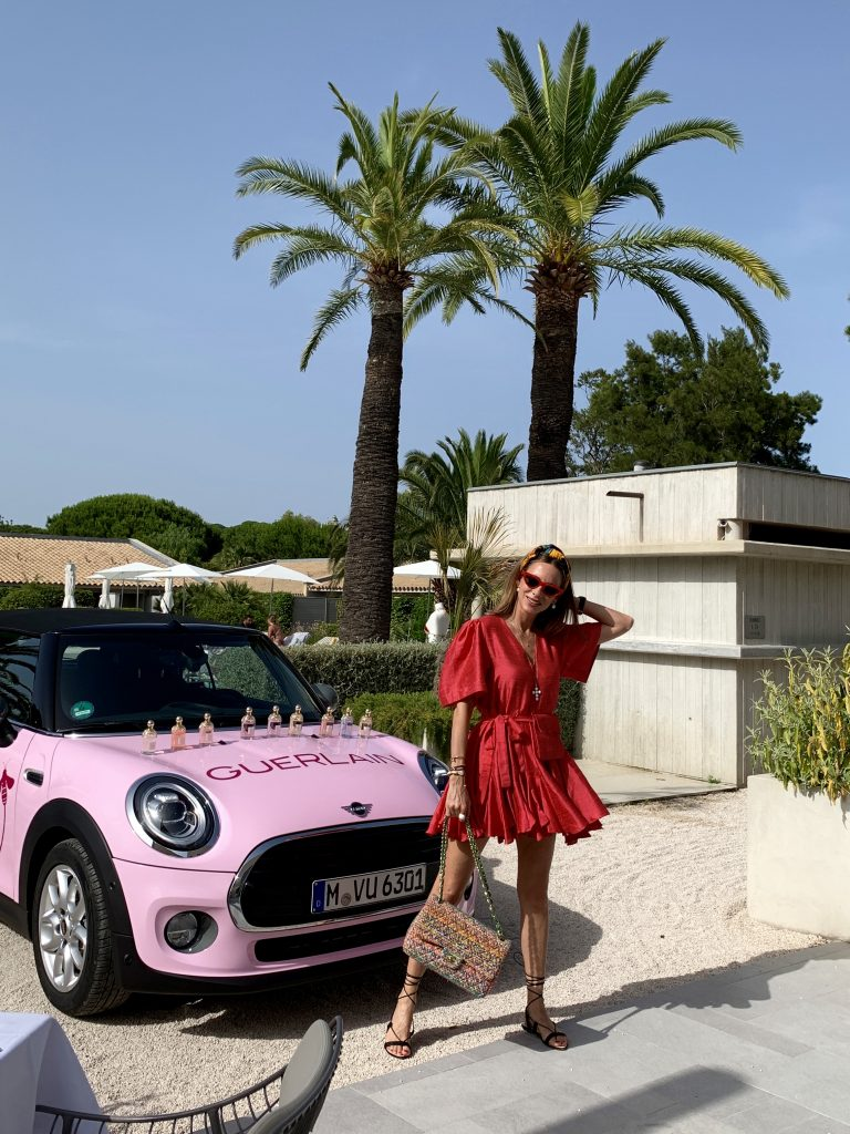 Model and Blogger Alexandra Lapp is seen during the celebration of the 20th anniversary of Guerlain's Aqua Allegoria fragrance collection in Saint-Tropez, France.