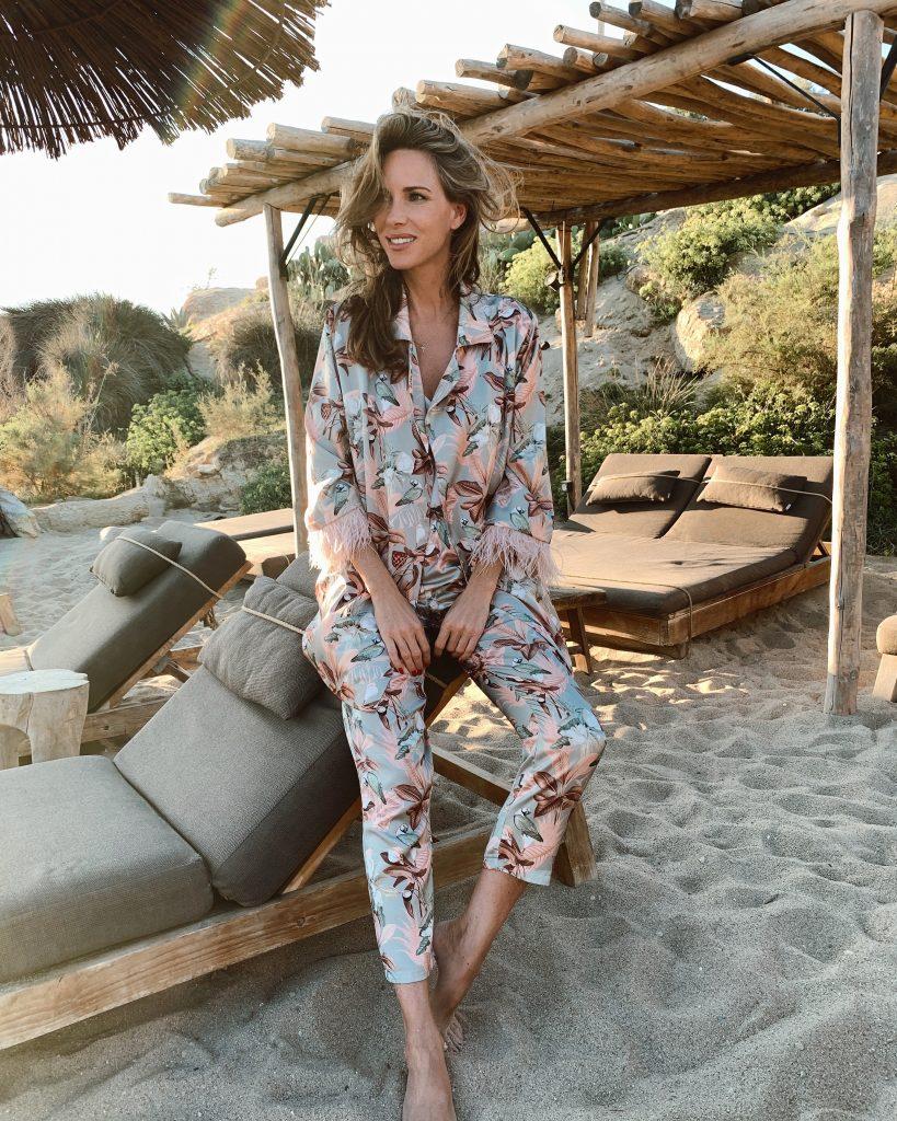 Alexandra Lapp in a Mykonos Look is seen on vacation on the Greek Islands
