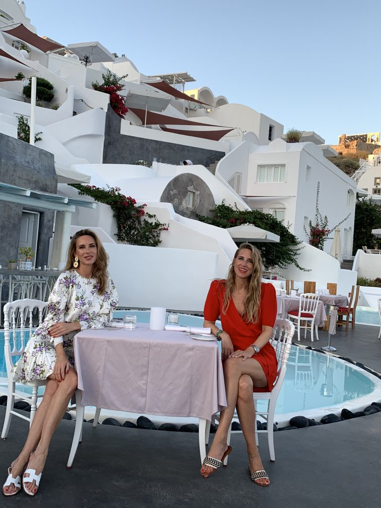 Alexandra Lapp in a Santorini Look is seen on vacation on the Greek Islands