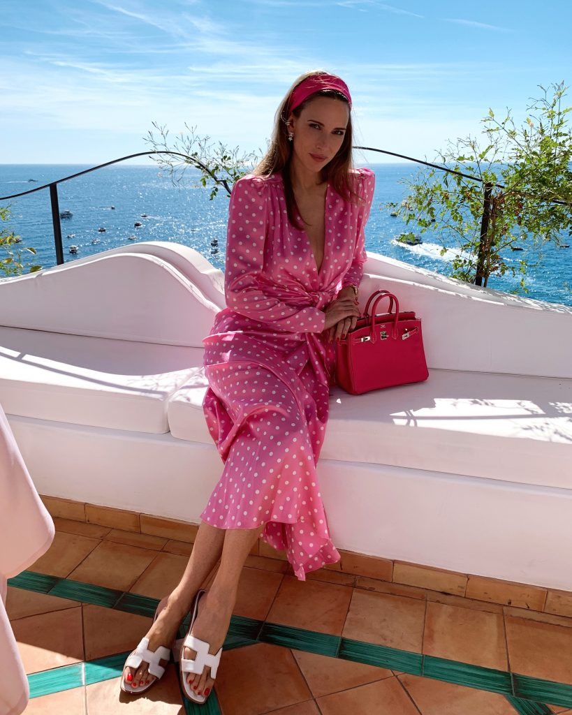 Alexandra Lapp is seen wearing a Positano Look during her vacation at the hotel Le Sirenuse in Positano, Italy.