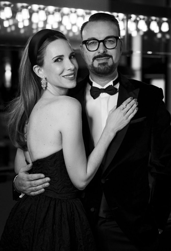 BADEN-BADEN, GERMANY - NOVEMBER 21: Alexandra Lapp and Oliver-Christian Eder attends the 71st Bambi Awards in Baden-Baden on November 21, 2019 in Baden-Baden, Germany wearing Dior gown and Harry Winston jewelry. (Photo by Andreas Rentz/Getty Images)
