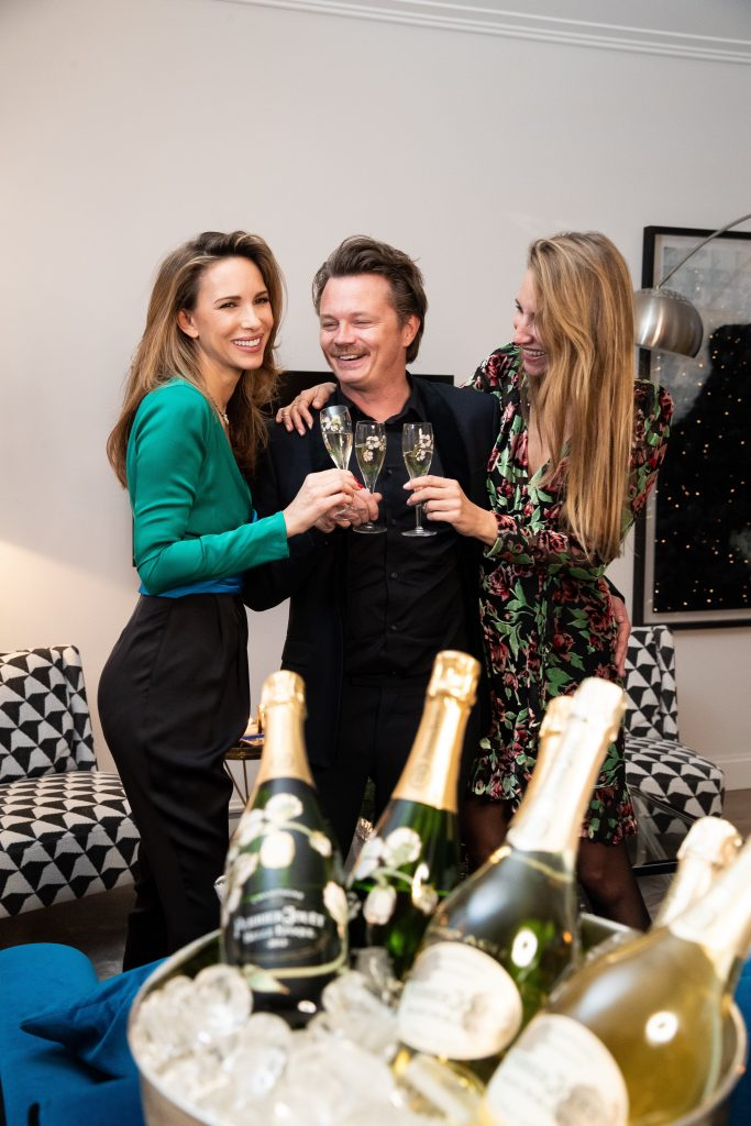 Alexandra Lapp having a private dinner with friends, Perrier-Jouët and Aki Kaviar at her home.