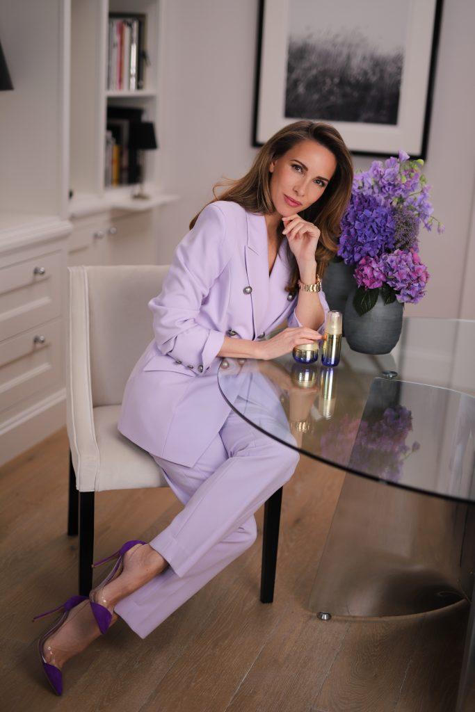 Alexandra Lapp using Vital Perfection skincare line by Shiseido.